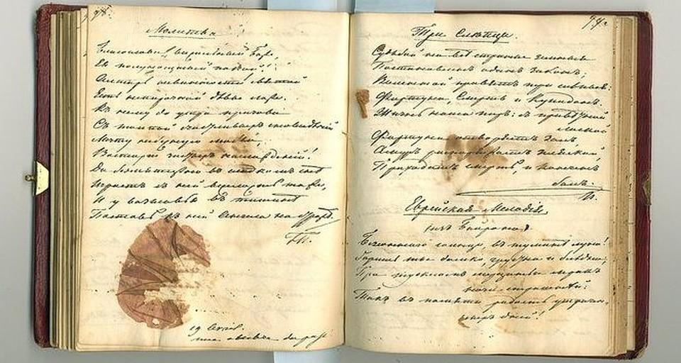 Страницы якобы «дневника Пушкина»